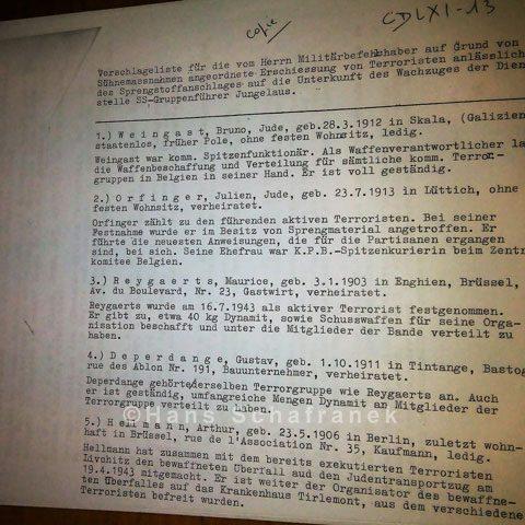 Vorschlagsliste für Todesstrafe Dauerausstellung Fort de Breendonk