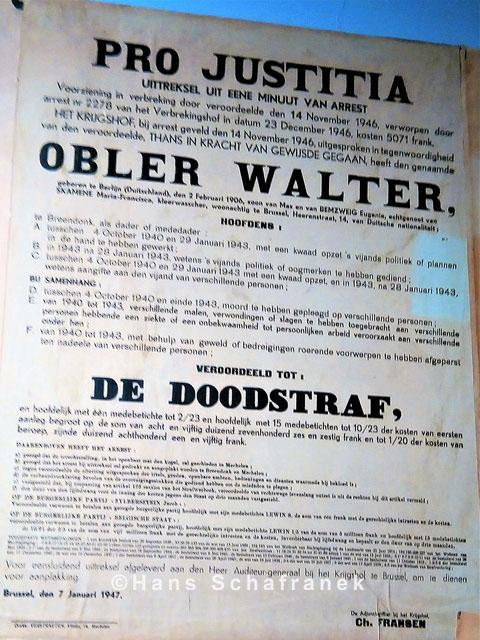 Todesurteil Walter Obler Dauerausstellung Fort de Breendonk